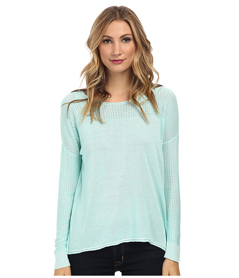 TWO by Vince Camuto - Plaited Boatneck Pullover with Pointelle Yoke (Pale Turquoise) Women