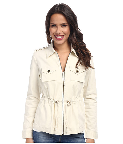 TWO by Vince Camuto - Washed Sateen D/S Cargo Jacket (White Clay) Women's Coat