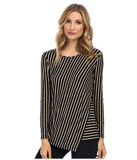 TWO by Vince Camuto - Long Sleeve Diagonal Stripe Overlay Tunic (Rich Black) Women's Blouse