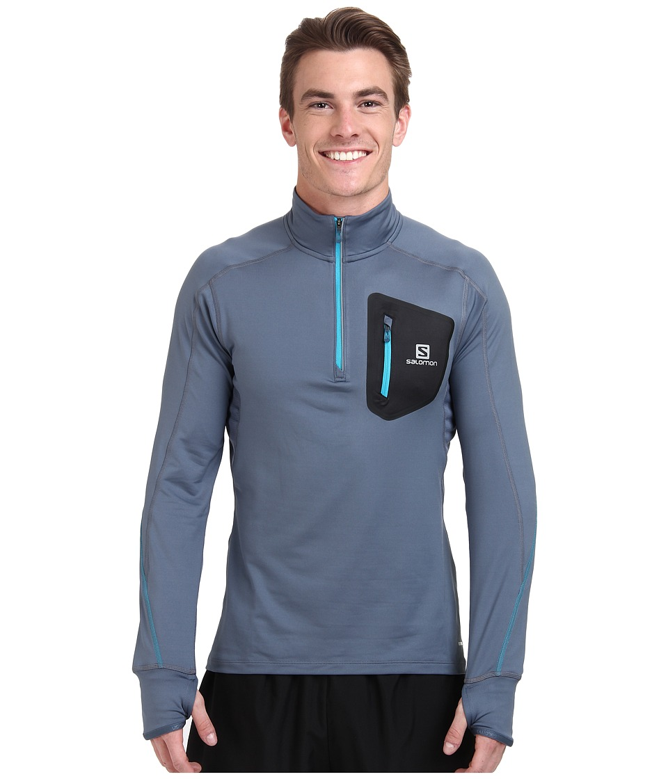 Salomon - Trail Runner Warm L/S Zip Tee (Bleu Gris/Black) Men