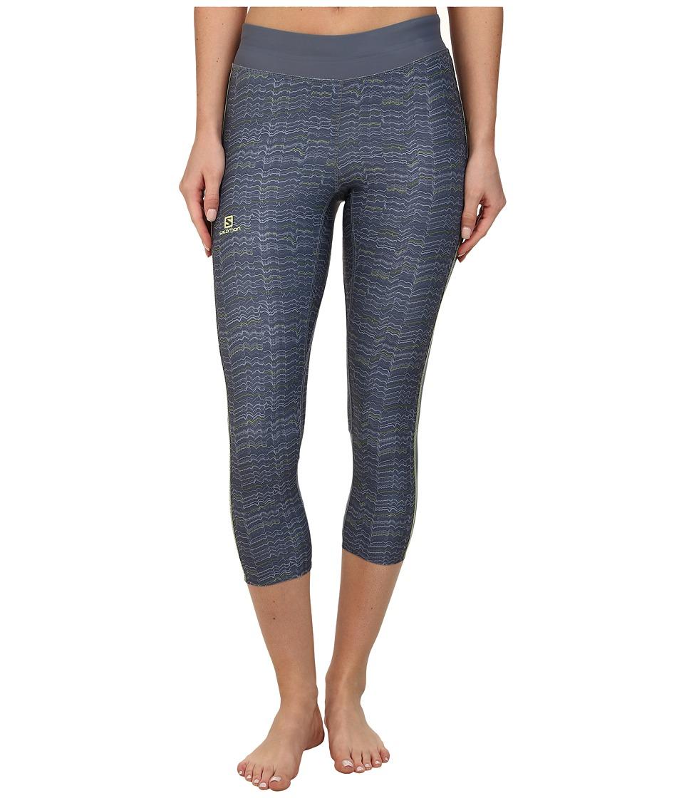 Salomon - Elevate 3/4 Tight (Bleu Gris/Stone Blue/Gecko Green) Women's Workout plus size,  plus size fashion plus size appare