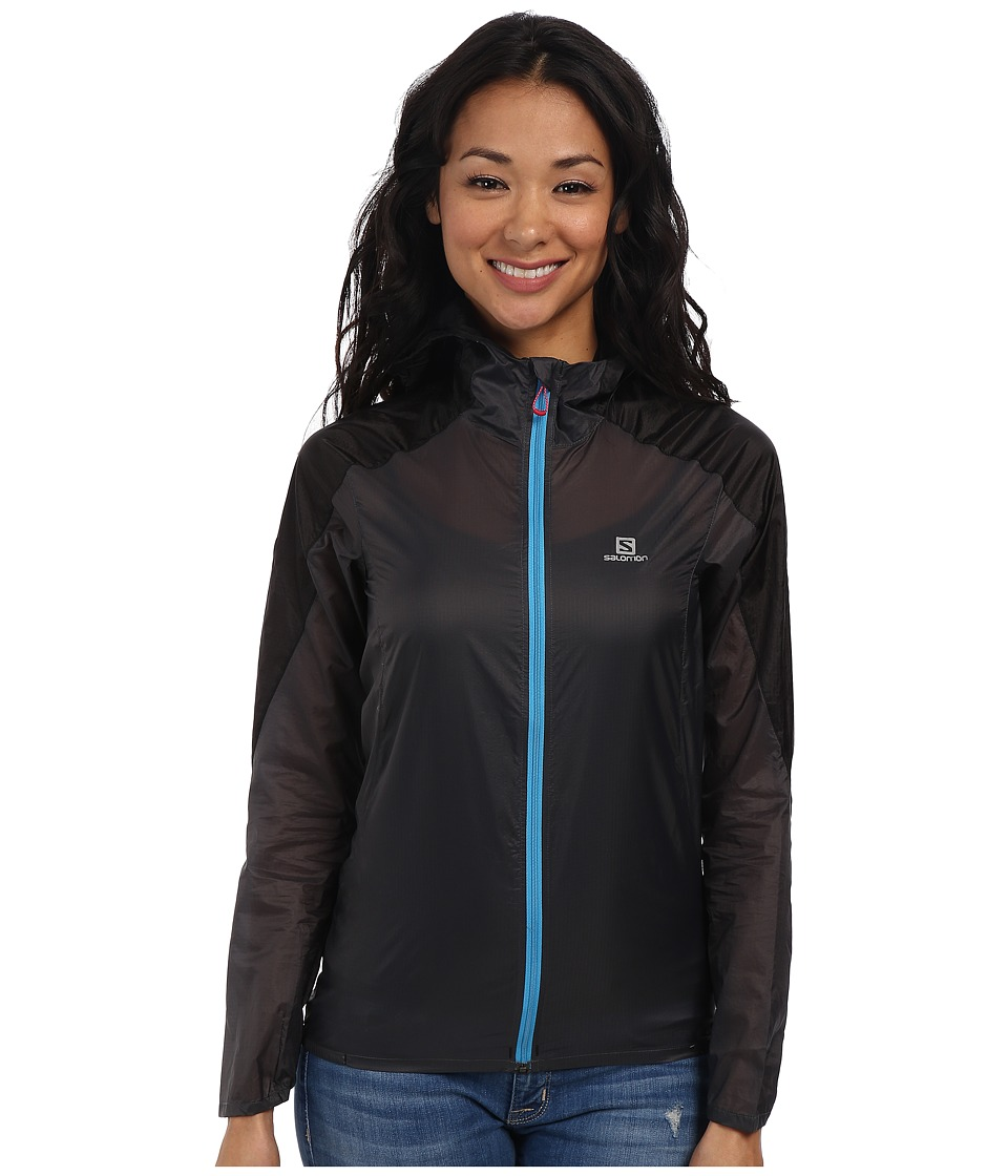 Salomon - Fast Wing Hoodie (Dark Cloud/Black) Women's Sweatshirt