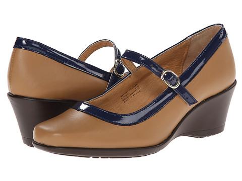 Gabriella Rocha - French Strap (Camel/Blue Faux Leather) Women's Slip on Shoes