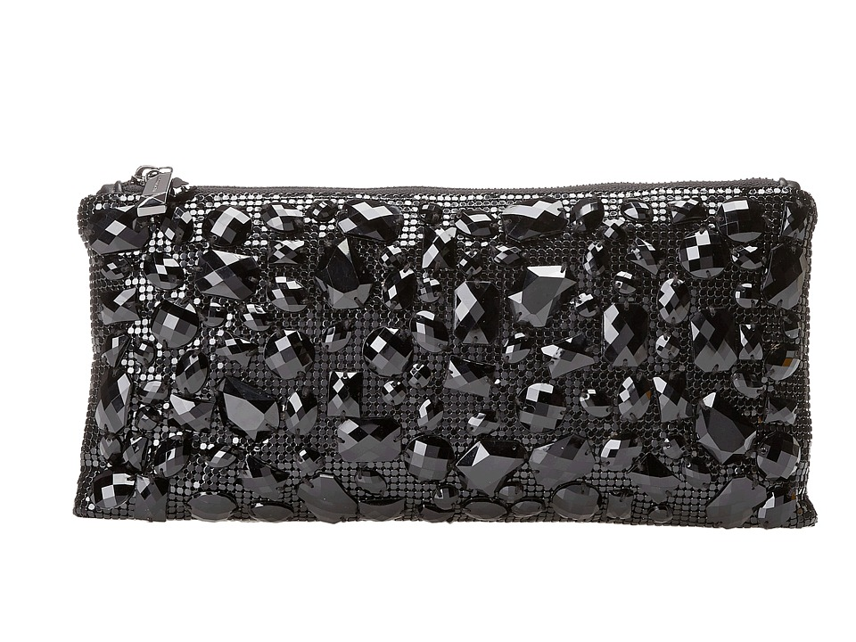BCBGMAXAZRIA - Sonya Beaded Metal Mesh Wristlet (Black) Clutch Handbags