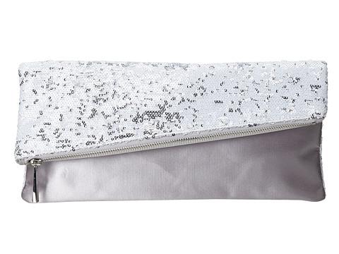 BCBGMAXAZRIA - Melody Asymmetrical Foldover Clutch (White Combo) Clutch Handbags