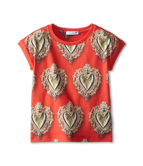 Dolce & Gabbana - Sacred Heart Jersey Tee (Toddler/Little Kids) (Red) Women