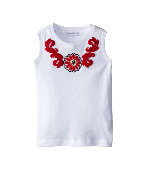 Dolce & Gabbana - Floral Macrame Applique Jersey Tee (Toddler/Little Kids) (White) Women