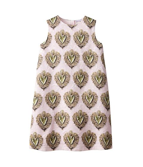 Dolce & Gabbana - Sacred Heart Brocade Dress (Big Kids) (Pink Multi) Women