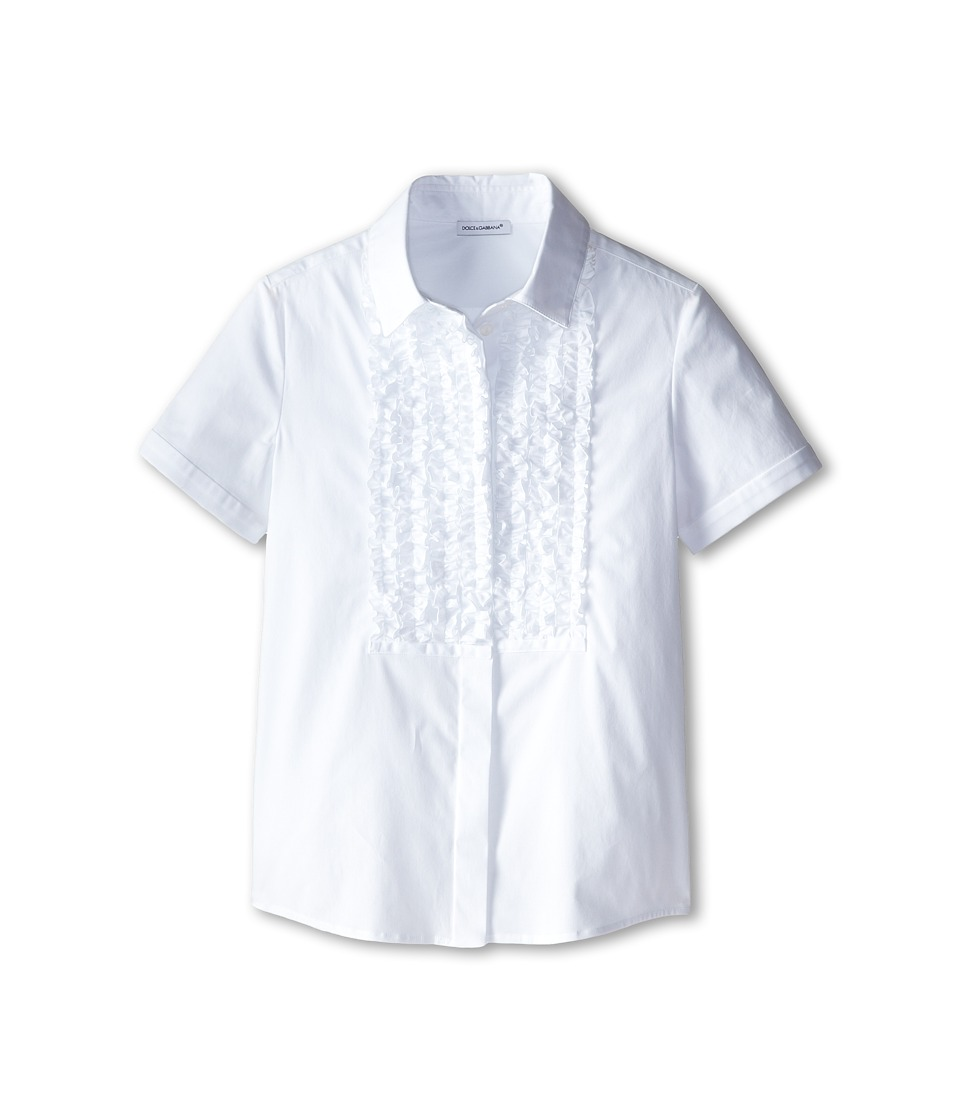 Dolce & Gabbana Kids - Ruffled S/S Button Up (Big Kids) (White/Black) Girl's Short Sleeve Button Up