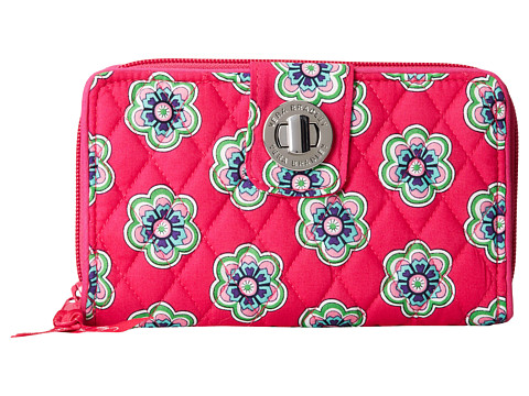 Vera Bradley - Turn Lock Wallet (Pink Swirls Flowers) Wallet Handbags