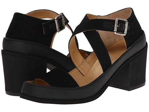 MM6 Maison Margiela - Chunky Suede Sandals (Black/Black) Women