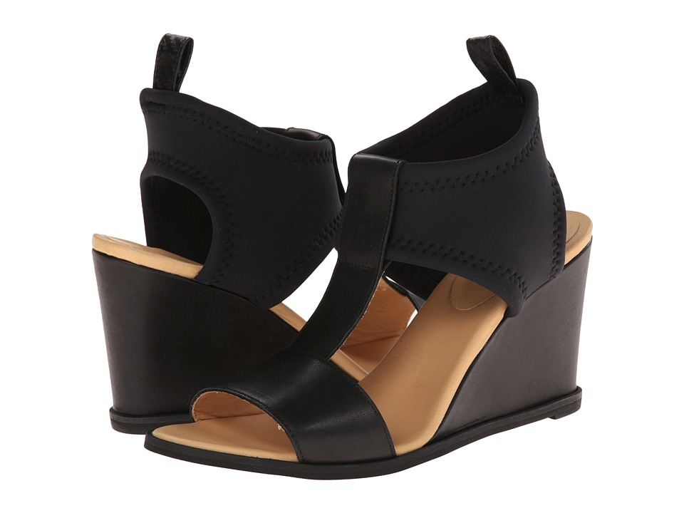 MM6 Maison Margiela - T-Strap Leather Wedges (Black/Black/Black) Women's Wedge Shoes