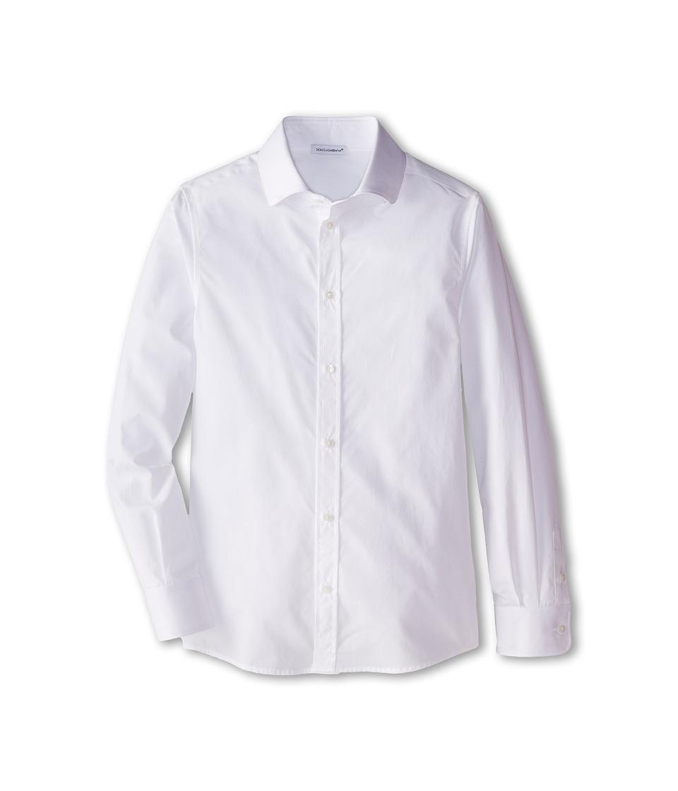 Dolce & Gabbana - Cotton Poplin Button Up (Big Kids) (White) Men