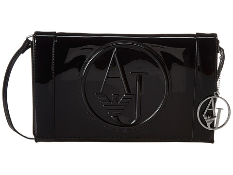 Armani Jeans - Logo Medium Crossbody (Black) Cross Body Handbags