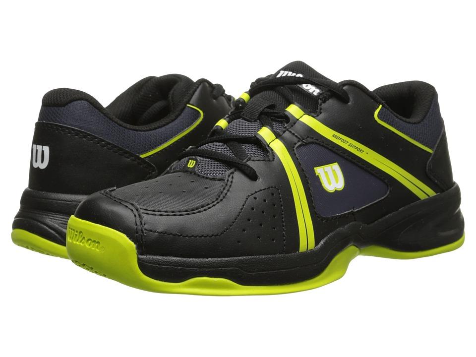 Wilson Kids - Nvision Envy Junior (Little Kid/Big Kid) (Black/Solar Lime) Kids Shoes