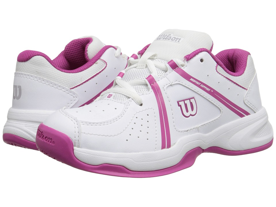 Wilson Kids - Nvision Envy Junior (Little Kid/Big Kid) (White/Fiesta Pink) Girls Shoes