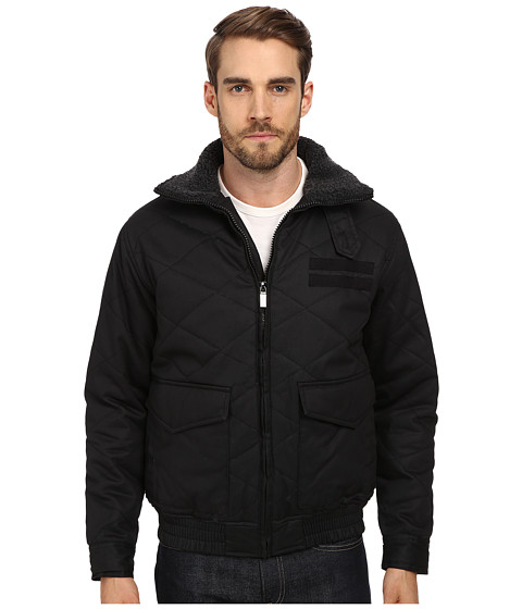 Steve Madden - Quilted Bomber w/ Sherpa Lined Collar (Black) Men