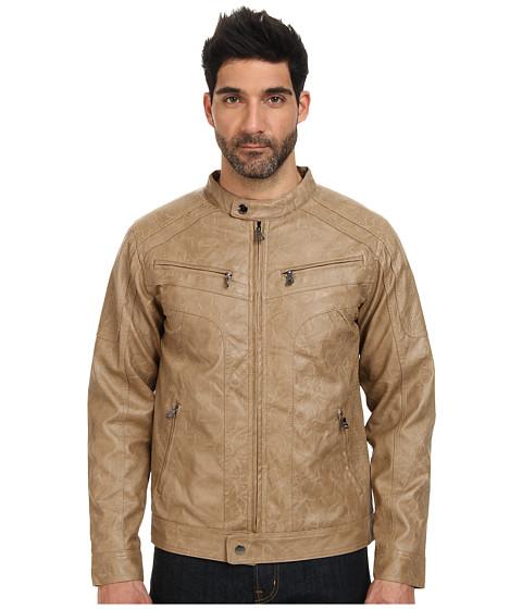 English Laundry PU Jacket w/ Perforated PU Mixed (Walnut) Men's Coat