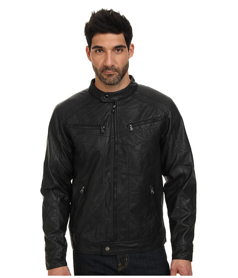 English Laundry PU Jacket w/ Perforated PU Mixed (Black) Men's Coat