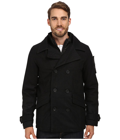 English Laundry - Double Breasted Peacoat w/ Attached Nylon Bib (Black Heather) Men