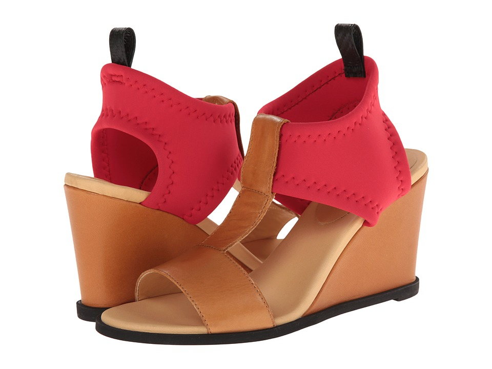 MM6 Maison Margiela - T-Strap Leather Wedges (Camel/Red/Black) Women's Wedge Shoes