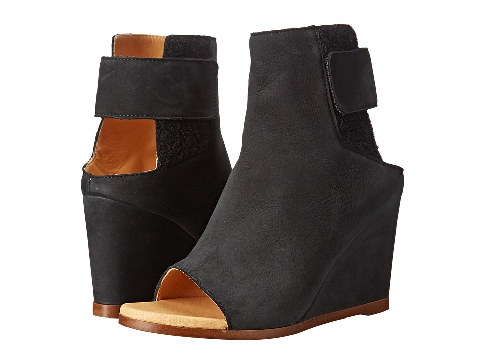 MM6 Maison Margiela - Suede Wedge Booties (Black) Women's Wedge Shoes