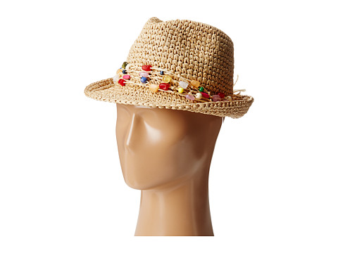 Hat Attack - Chunky Crochet Fedora (Natural/Multi Bead Trim) Fedora Hats
