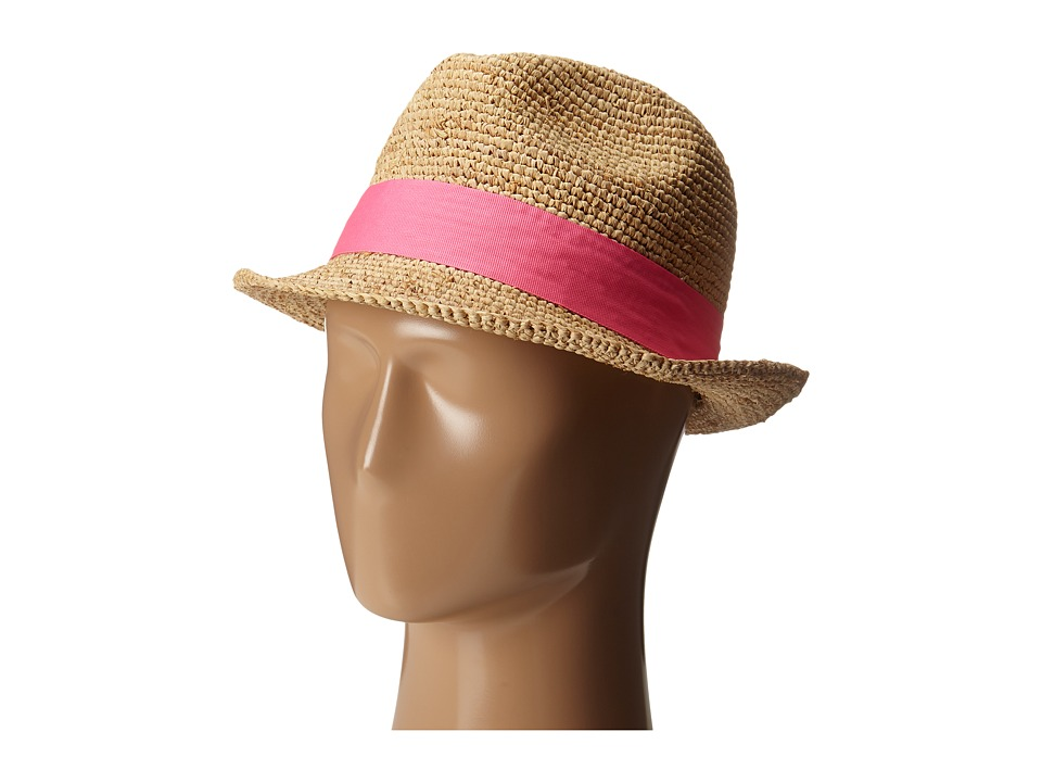 Hat Attack - Raffia Crochet Short Brim Fedora (Natural/Pinks) Fedora Hats
