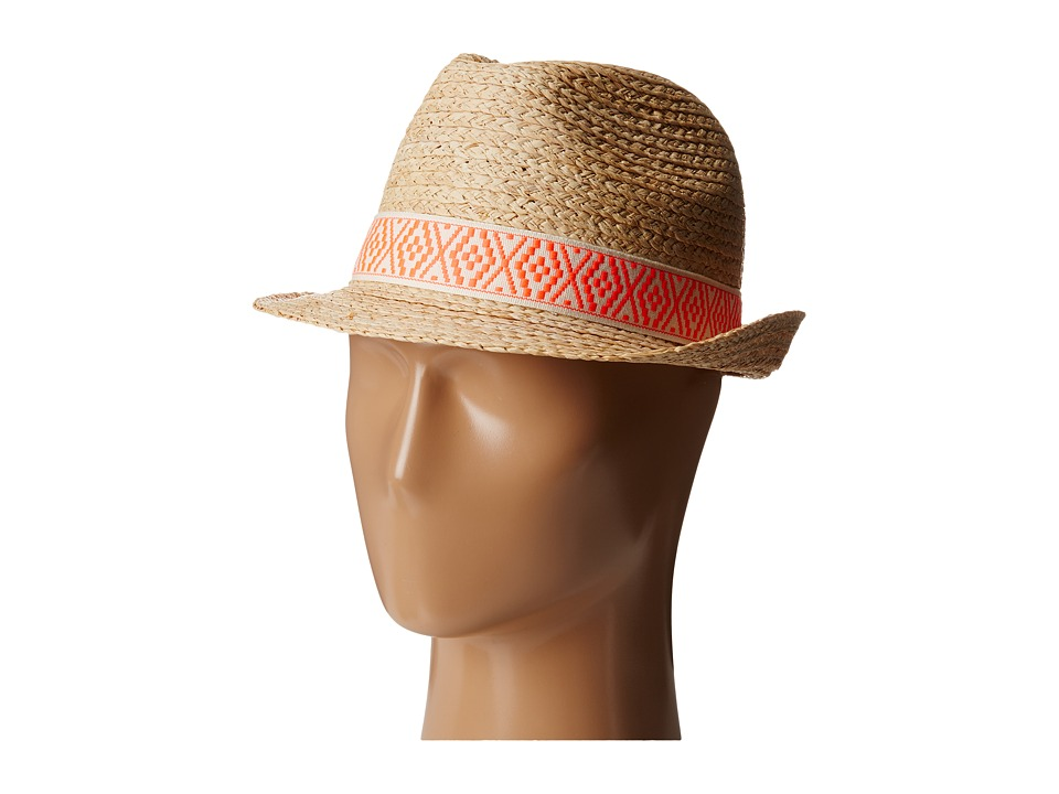 Hat Attack - Authentic Raffia Braid Fedora (Natural/Embroidered Pink) Fedora Hats