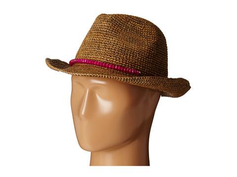 Hat Attack - Raffia Crochet Classic Fedora (Tobacco/Pink Natural Stones) Fedora Hats