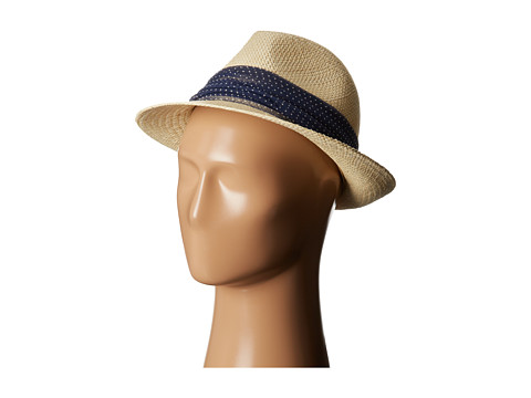 Hat Attack - Classic Panama Fedora (Natural/Navy Dot) Fedora Hats