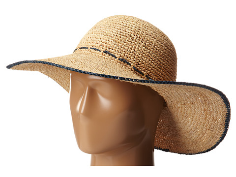 Hat Attack - Adjustable Sunhat w/ Tipped Edge (Natural/Navy) Traditional Hats
