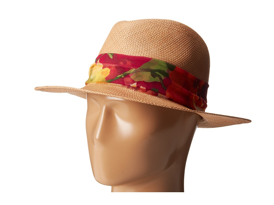 Hat Attack - Panama Continental (Pecan/Floral Fabric Band) Traditional Hats
