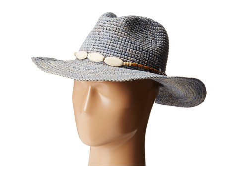 Hat Attack - Raffia Crochet Continental (Chambray/Wood Bead) Traditional Hats