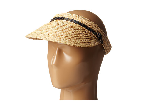 Hat Attack - Raffia Braid Visor (Natural/Navy Tubular Cord) Casual Visor