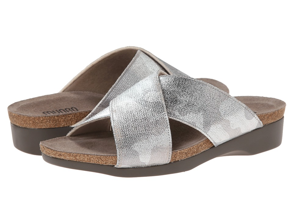 Munro - Gia (Silver Camo Fabric) Women's Slide Shoes