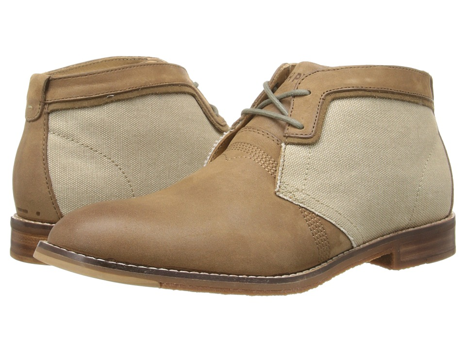 Hush Puppies - Devon Hamlin (Taupe Leather/Canvas) Men