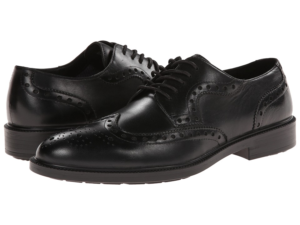 Hush Puppies - Issac Banker (Black WP Leather) Men's Lace Up Wing Tip Shoes