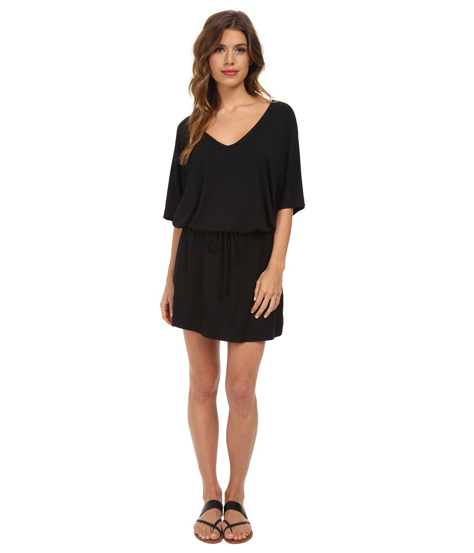 Michael Stars - V-Neck Dress w/ Drawstring (Black) Women's Dress