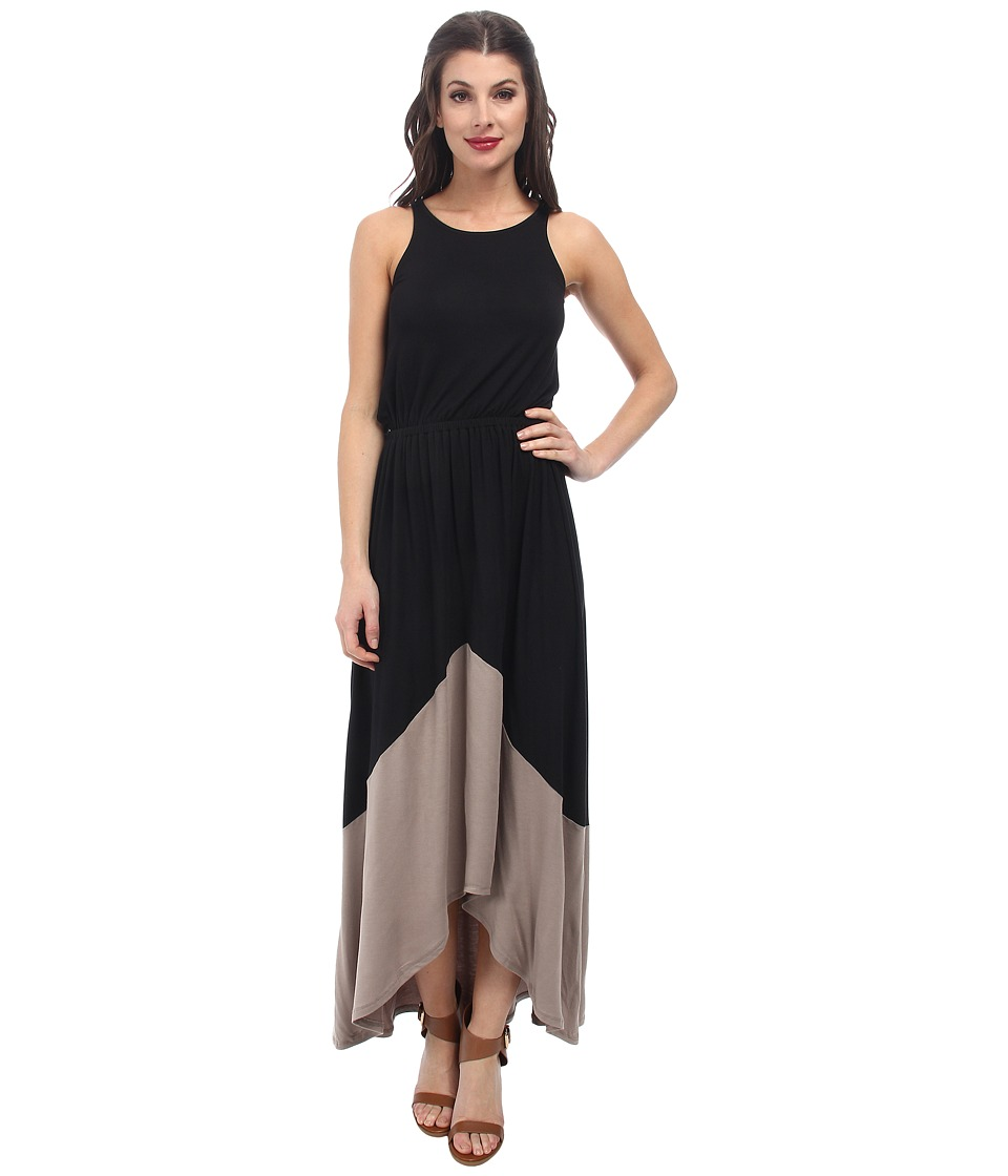 Michael Stars - Sleeveless Crew Neck High-Low Maxi Dress (Black/Taupe) Women's Dress
