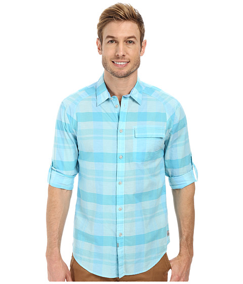 Calvin Klein Jeans - Lino Plaid Shirt (Fresh Water) Men's Long Sleeve Button Up