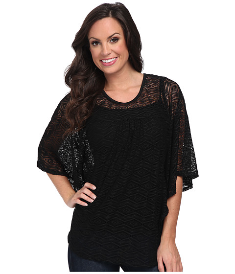 Scully - Abiageal Beautiful Dolman Crochet Lace Top (Black) Women's Clothing