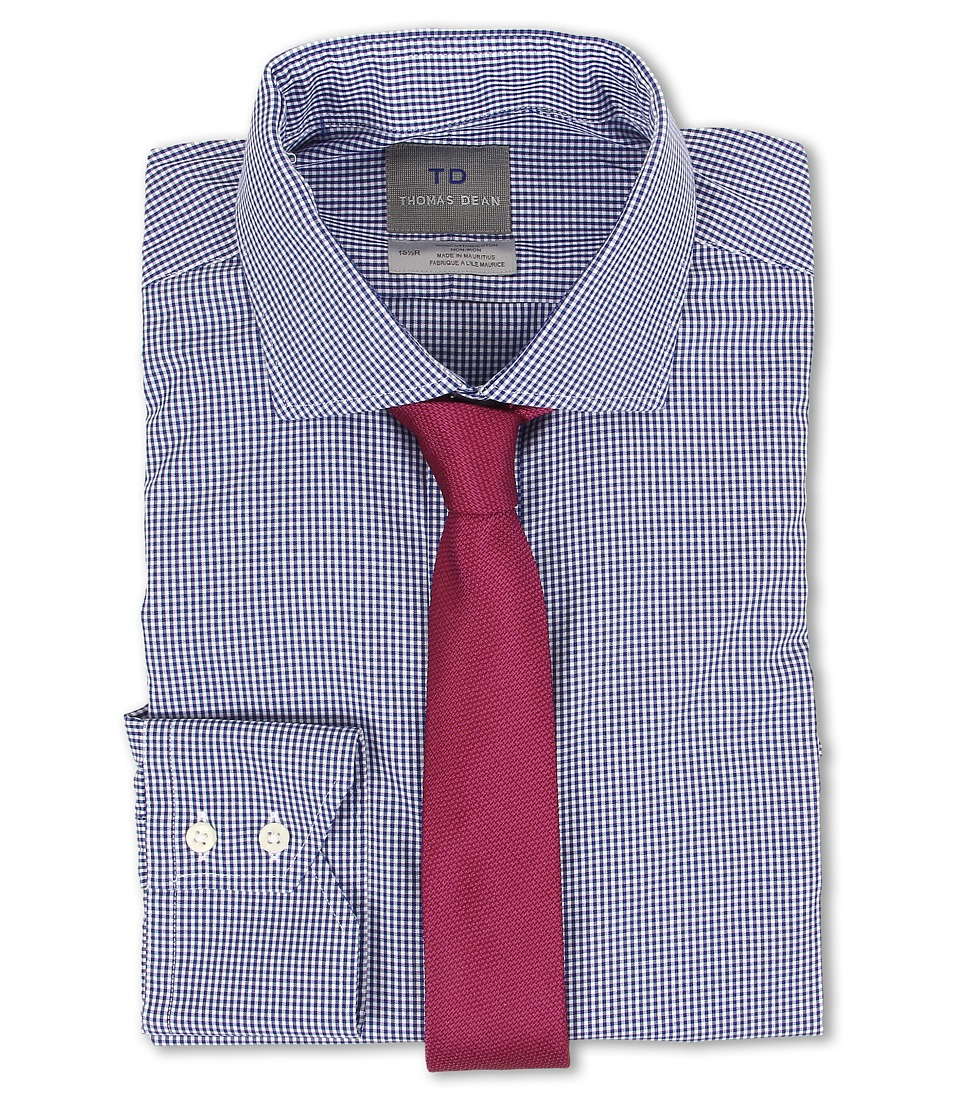 Thomas Dean & Co. - Non-Iron L/S Woven Dress Shirt w/ Spread Collar Mini Gingham Check (Blue) Men's Long Sleeve Button Up