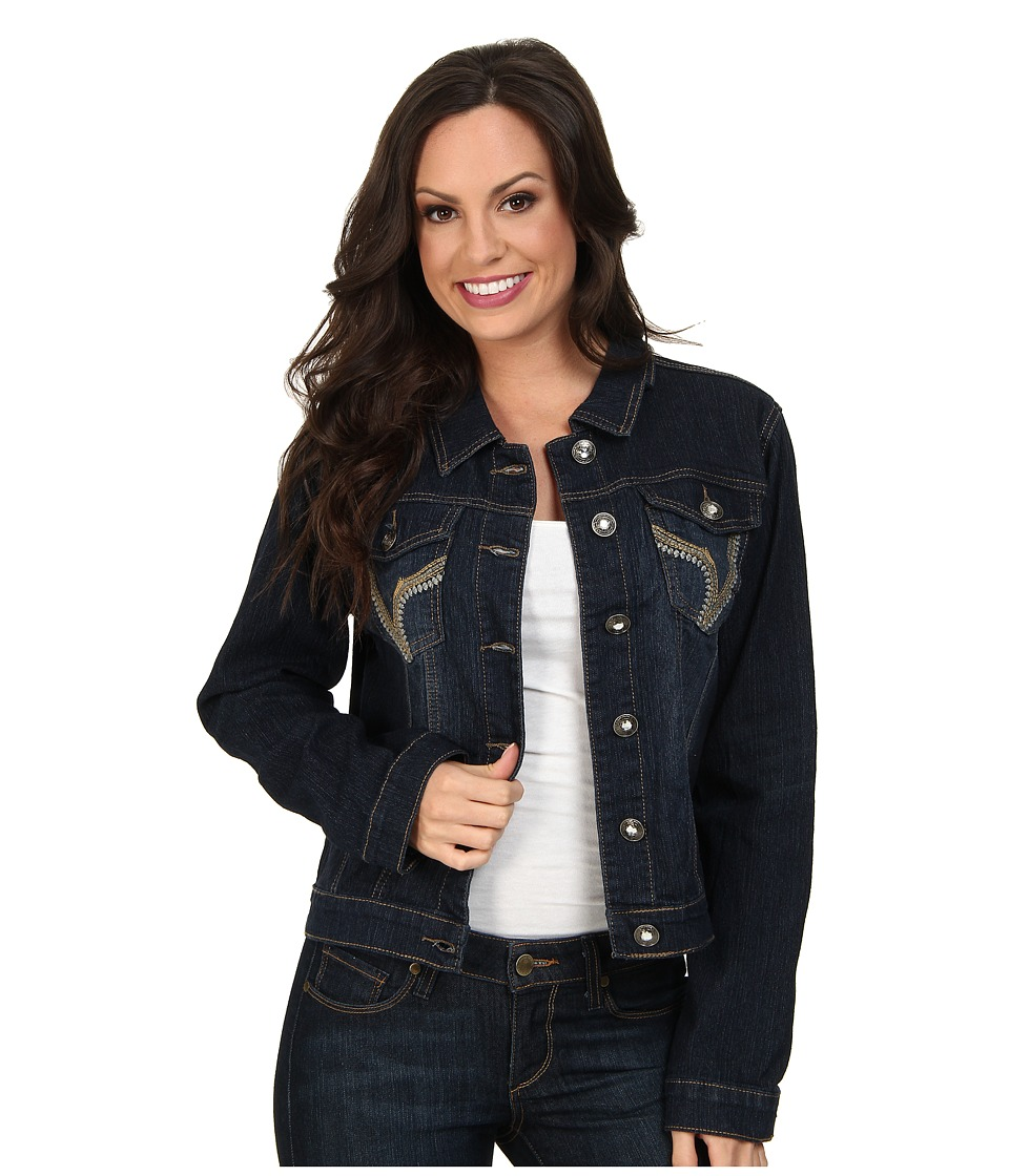Scully - Kasey Embroidered Pocket Denim Jacket (Blue) Women's Jacket
