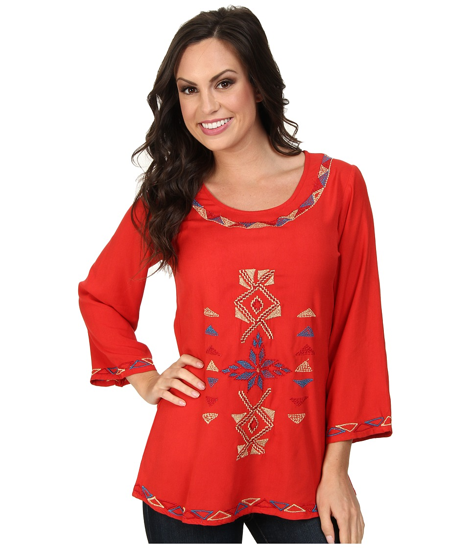 Scully - Filia Embroidered Front and Back Top (Red) Women's Clothing