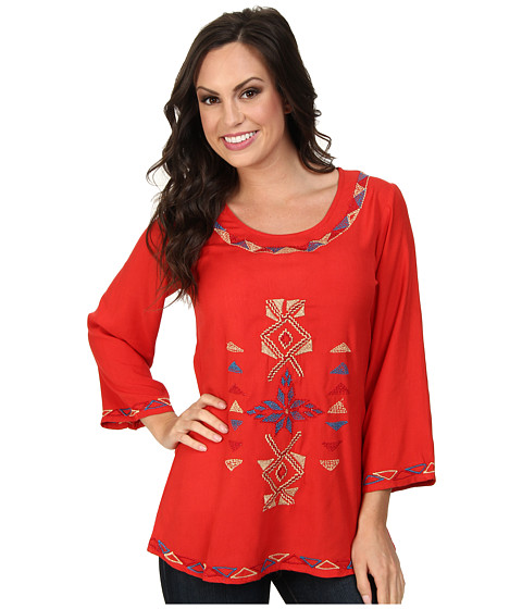 Scully - Filia Embroidered Front and Back Top (Red) Women