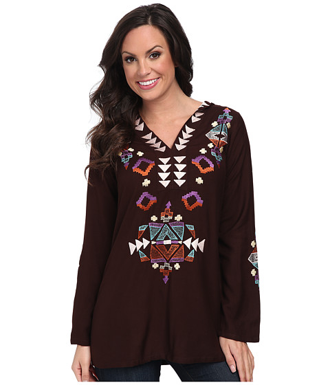 Scully - Kathleena Embroidered Front and Back Top (Chocolate) Women's Clothing