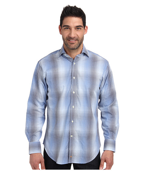 Thomas Dean & Co. - L/S Woven Ombre Check (Blue) Men's Long Sleeve Button Up