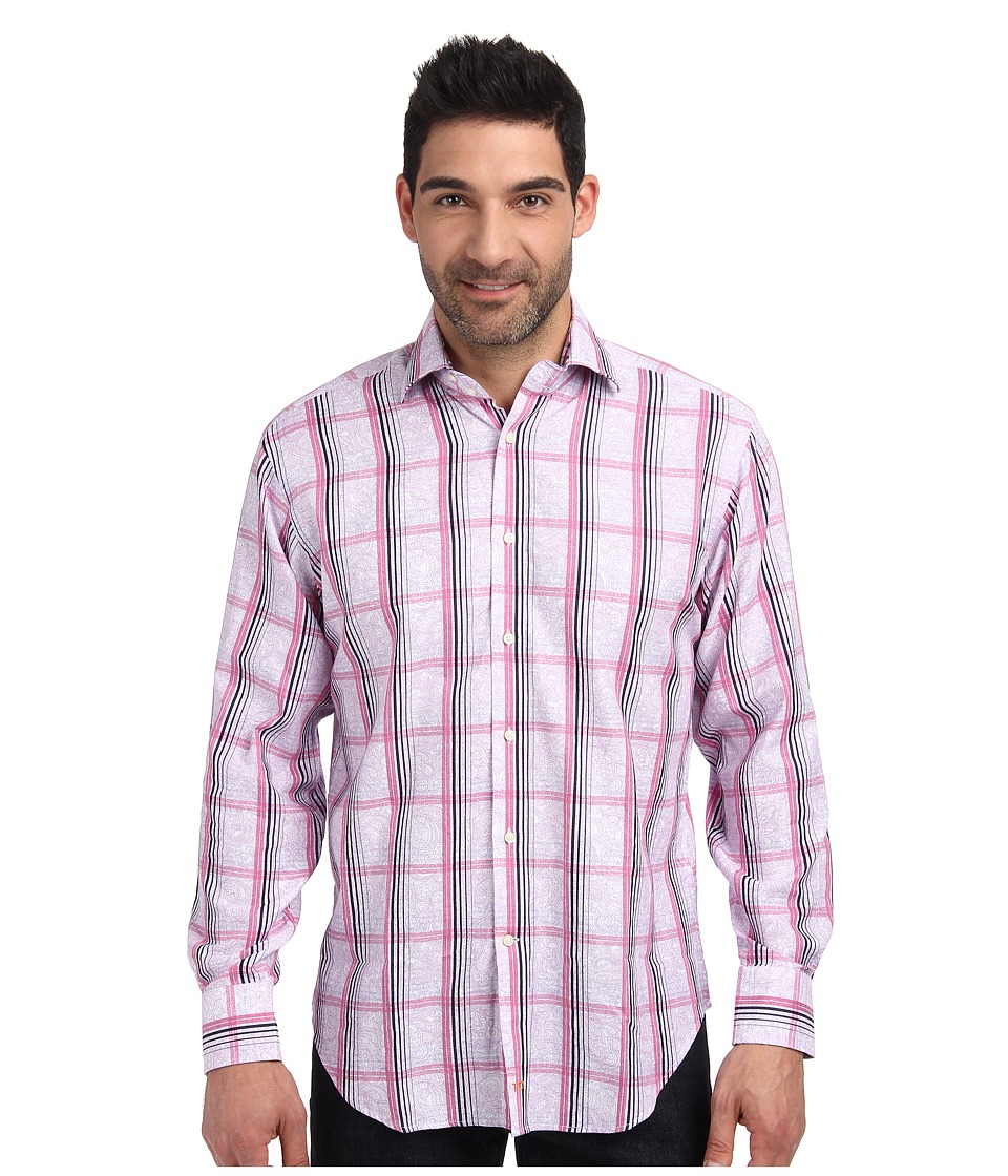 Thomas Dean & Co. - L/S Woven Windowpane Over Print (Lilac) Men's Long Sleeve Button Up