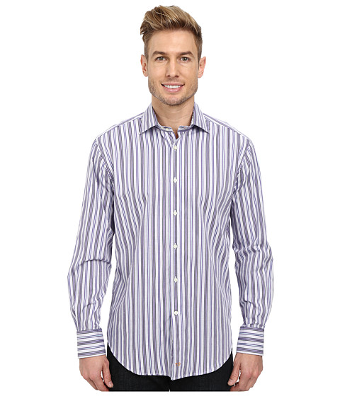 Thomas Dean & Co. - Mini Check w/ Textured Stripe L/S Woven Shirt (Purple) Men's Long Sleeve Button Up